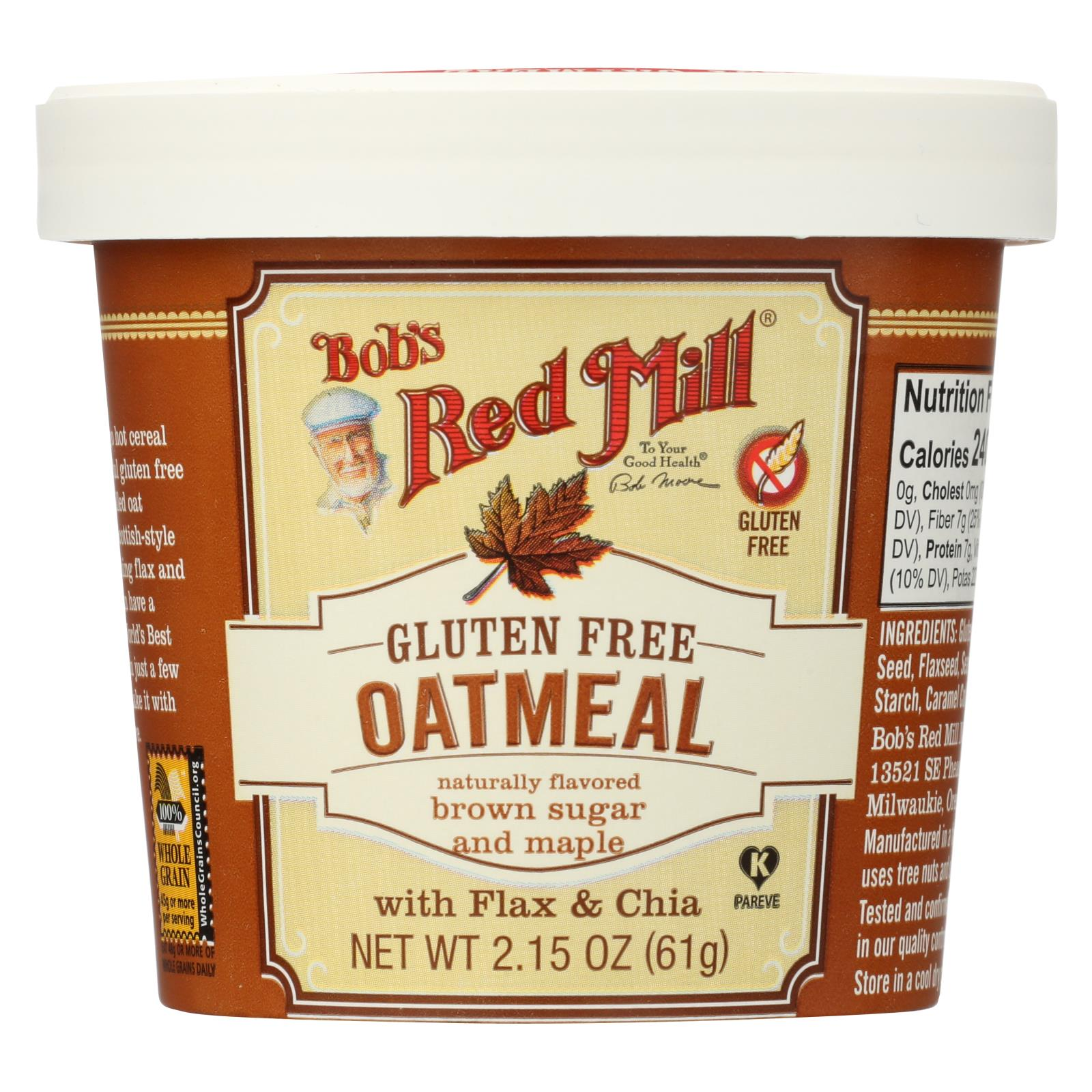 Bob's Red Mill Gluten Free Oatmeal Cup, Brown Sugar And Maple - 2.15 Oz - Case Of 12 HG1770635