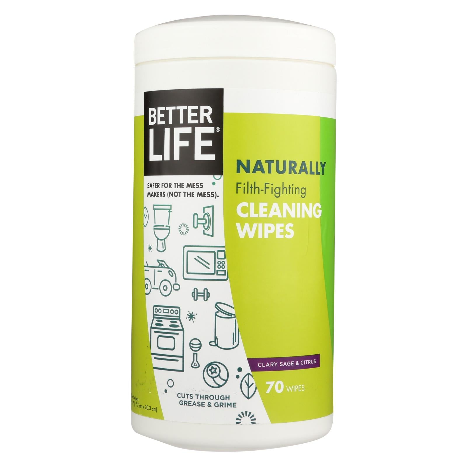 Better Life Cleaning Wipes - Naturally Filth - Fighting - Case Of 6 - 70 Count HG1780162