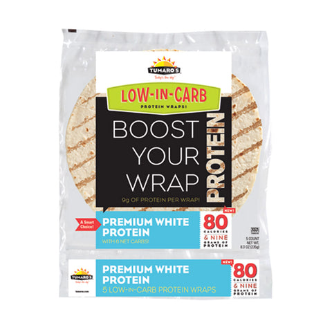 "Tumaros Low-in-carb Wraps - Premium White Protein - 8"" - 5 Ct. - Case Of 6"