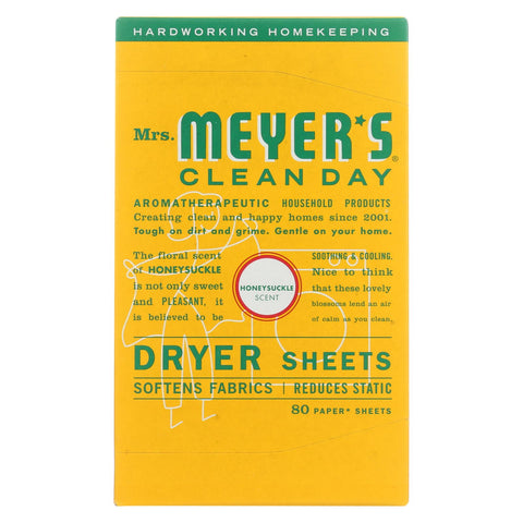 Mrs. Meyer's Clean Day - Dryer Sheets - Honeysuckle - Case Of 12 - 80 Sheets