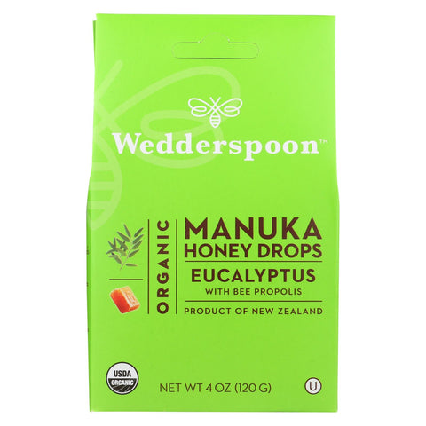Wedderspoon Drops - Organic - Manuka Honey - Eucalyptus - 4 Oz