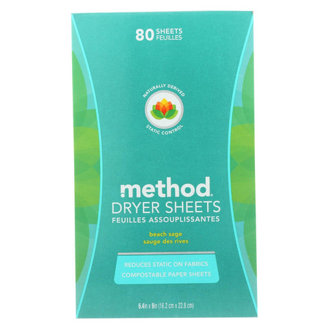 Method Dryer Sheets - Beach Sage - Case Of 6 - 80 Count
