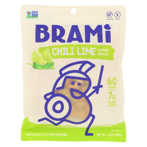 Brami Lupini Snack - Chili Lime - Case Of 8 - 5.3 Oz.