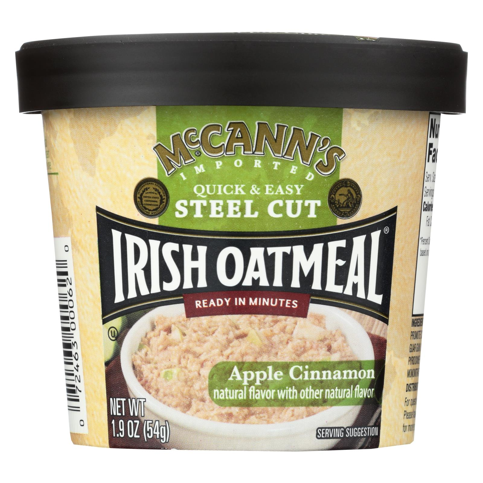 Mccann's Irish Oatmeal Instant Oatmeal Cup - Apple Cinnamon - Case Of 12 - 1.9 Oz HG1889005