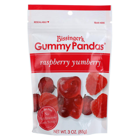 Bissinger's Gummy Pandas Raspberry Yumberry - Case Of 12 - 3 Oz.