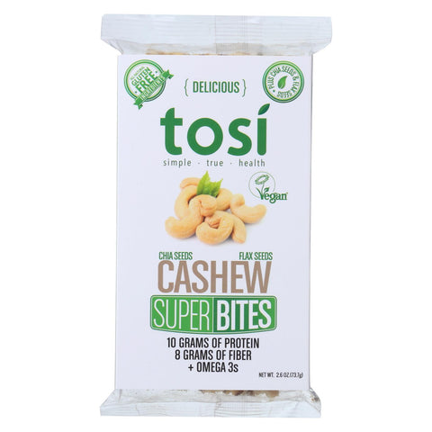 Tosi Health Superbites - Cashew - Case Of 12 - 2.6 Oz.