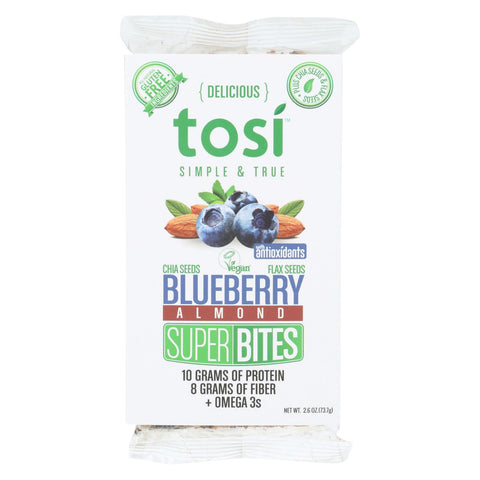 Tosi Health Superbites - Blueberry - Case Of 12 - 2.6 Oz.