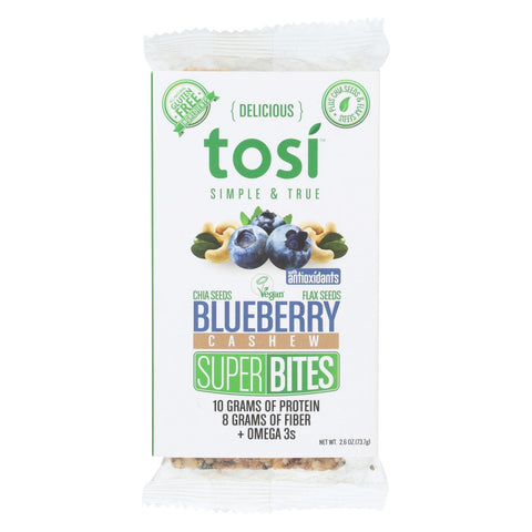 Tosi Health Superbites - Blueberry Cashew - Case Of 12 - 2.6 Oz.