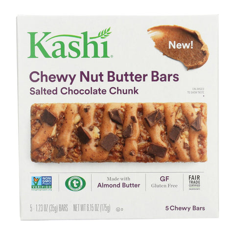 Kashi Chewy Nut Butter Bars - Salted Chocolate Chunk - Case Of 8 - 5-1.23oz
