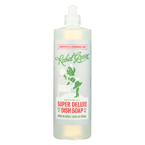 Rebel Green Dish Soap - Deluxe - Unscented - Case Of 4 - 16 Fl Oz