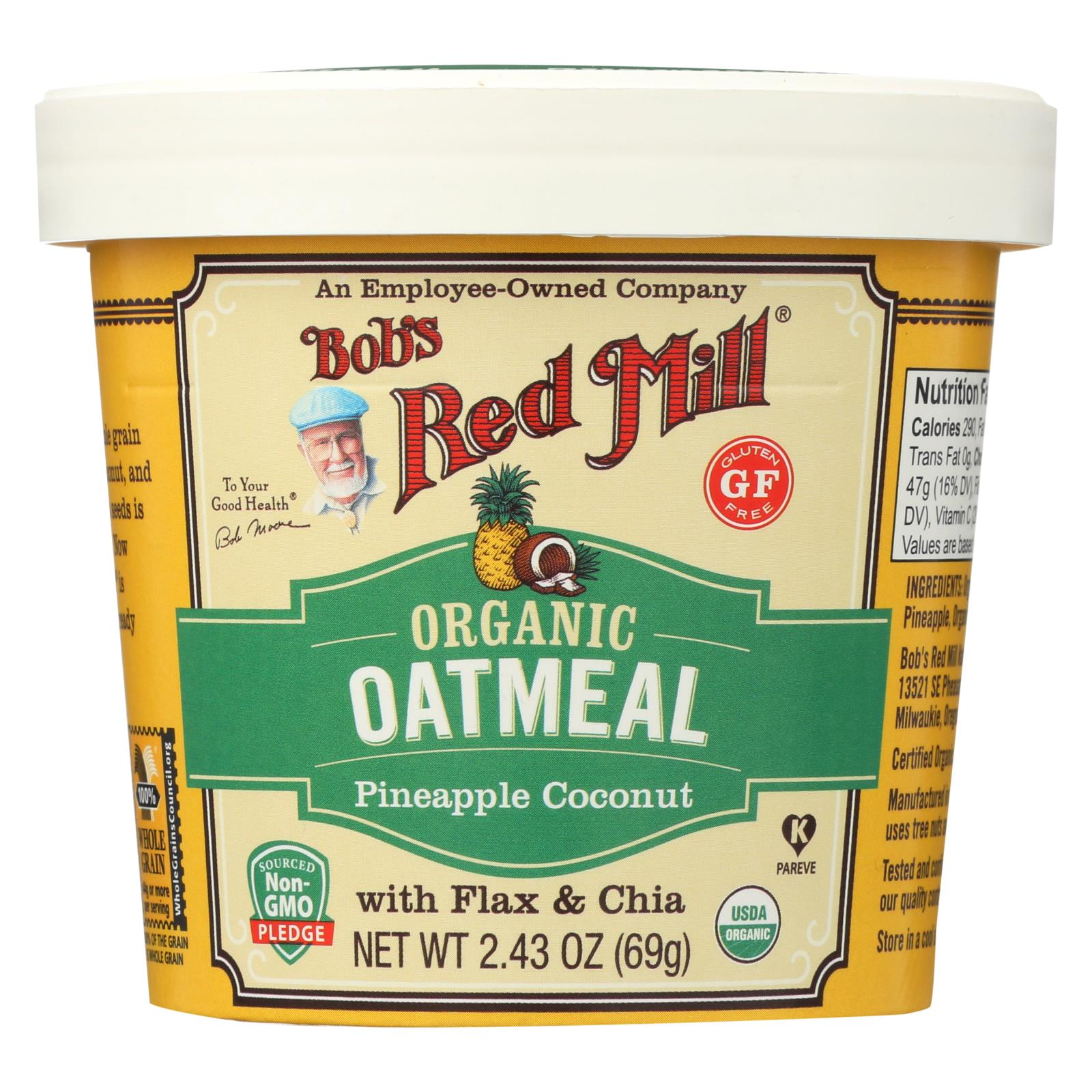 Bob's Red Mill Oatmeal Cup - Organic Pineapple Coconut - Gluten Free - Case Of 12 - 2.43 Oz HG2188233