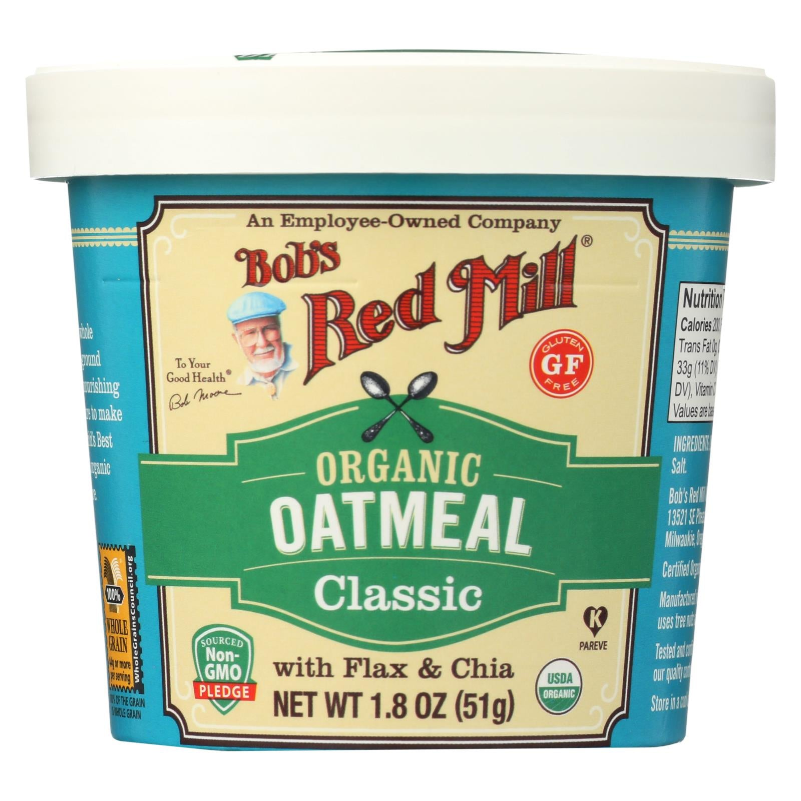 Bob's Red Mill Oatmeal - Organic - Cup - Classc - Gluten Free - Case Of 12 - 1.8 Oz HG2188241