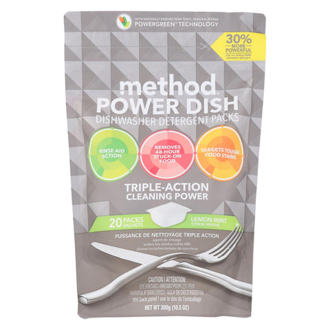 Method - Power Dish Dishwasher Detergent Packs - Lemon Mint - 20 Packs - Case Of 6 - 10.5 Oz.