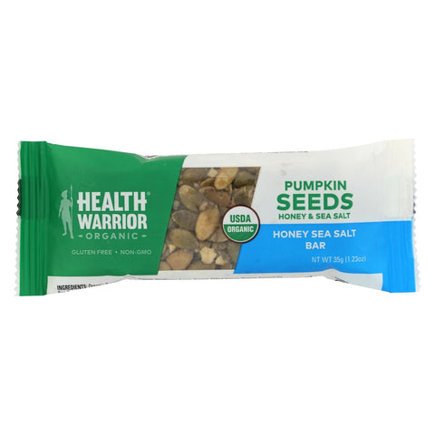 Health Warrior Pumpkin Seed Bar - Honey Sea Salt - Case Of 12 - 1.23 Oz.