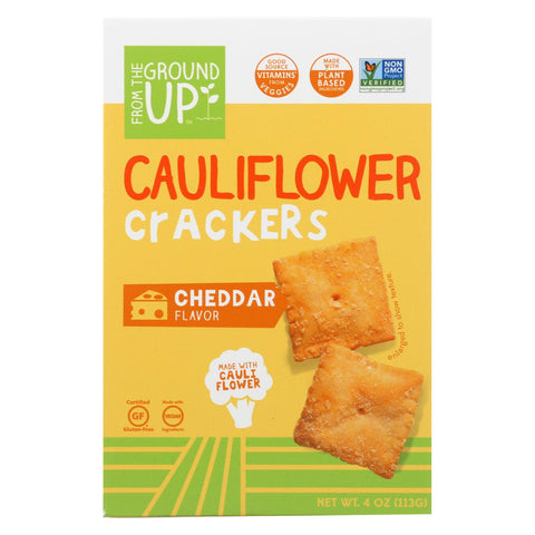 From The Ground Up - Cauliflower Crackers - Cheddar - Case Of 6 - 4 Oz.