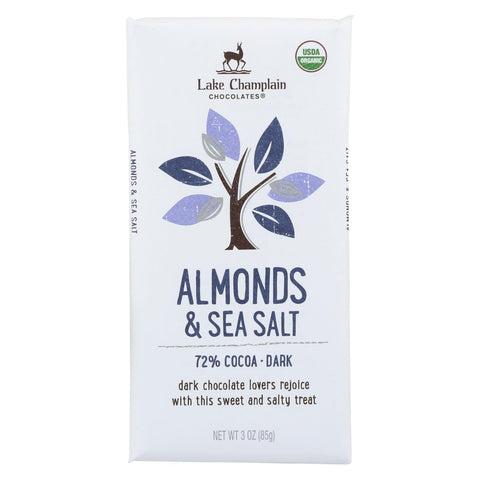 Lake Champlain Chocolates Chocolate Bar - Almonds & Sea Salt. 72% Cocoa, Dark. - Case Of 12 - 3 Oz.