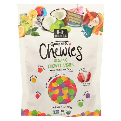 Project 7 - Gourmet Chewies - Organic Chewy Candies - Pouch - Case Of 12 - 4 Oz.
