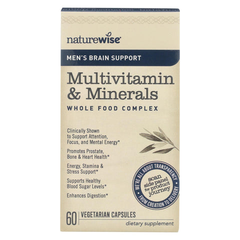 Naturewise - Men's Multivitamin And Minerals - Brain Support - 60 Vegetarian Capsules