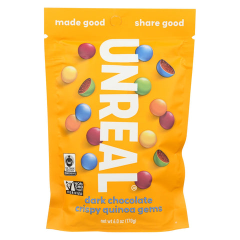 Unreal - Crispy Quinoa Chocolate Gems - Dark Chocolate - Case Of 6 - 5 Oz.