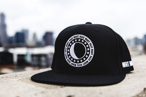 Night Bass White on Black Snapback