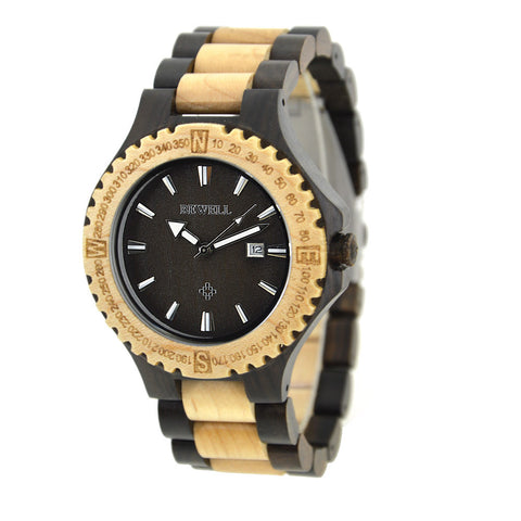 Classic Luxury Wooden Watch w/ Date Display