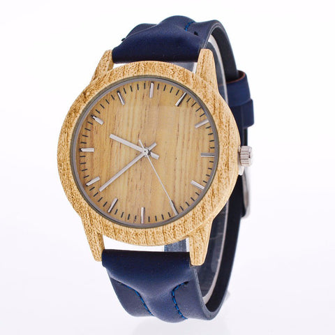 Classic Vintage Leather & Wood Wristwatch