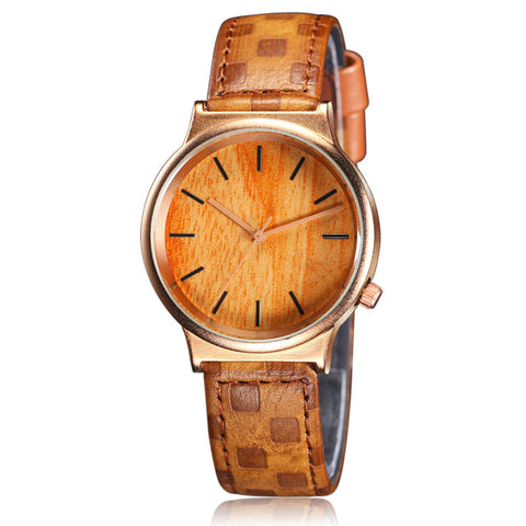 Wooden Quartz Leather Strap Watch