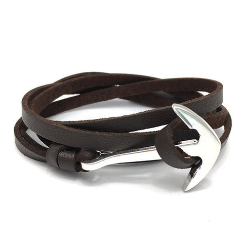 Adjustable Leather Anchor Bracelet