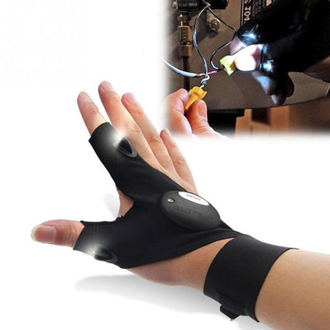 FINGERLESS GLOVE WITH HANDS FREE LED FLASHLIGHTS