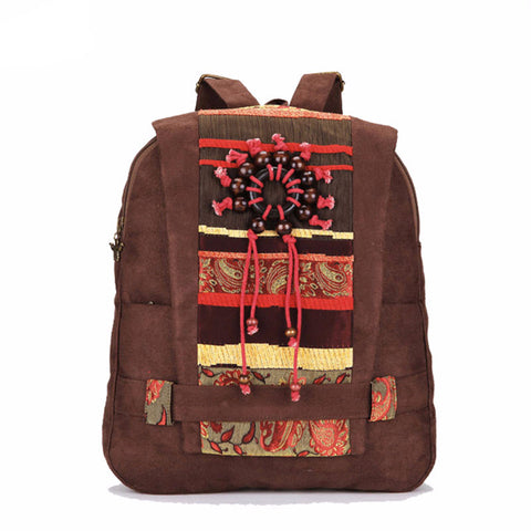 Women's Handmade Wooden Bead Backpack