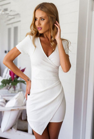 FASHION WOMEN V-NECK SHORT-SLEEVED PACKAGE HIP DRESS
