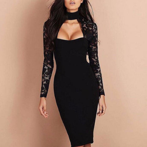 High Neck Lace Sexy Dress
