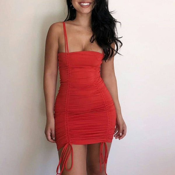 Sling Solid Color Sexy Dress