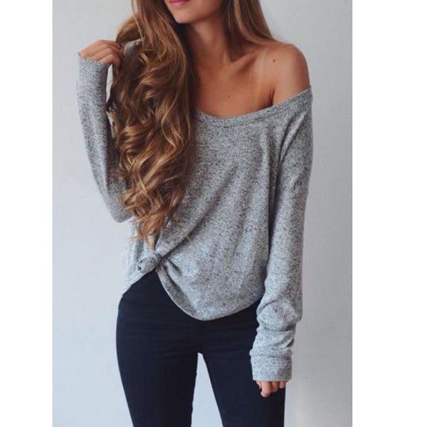 Fashion Loose Long-Sleeved T-Shirt Crop Top