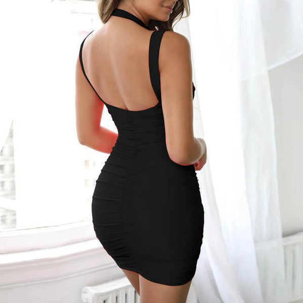 Sexy Sleeveless Halter Bodycon Mini Dres