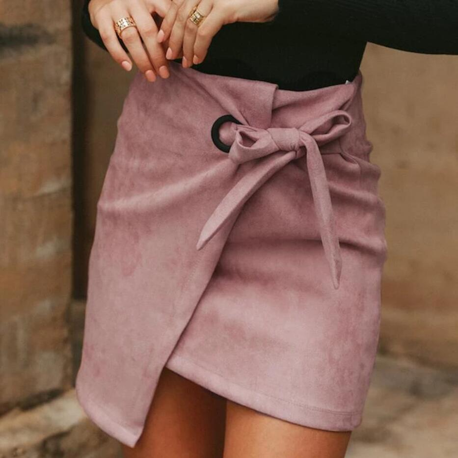 Fashion Solid Color Bag Hip Skirt