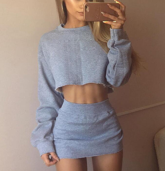 Round Neck Long Sleeve Tops Skirt Two-Piece Suit