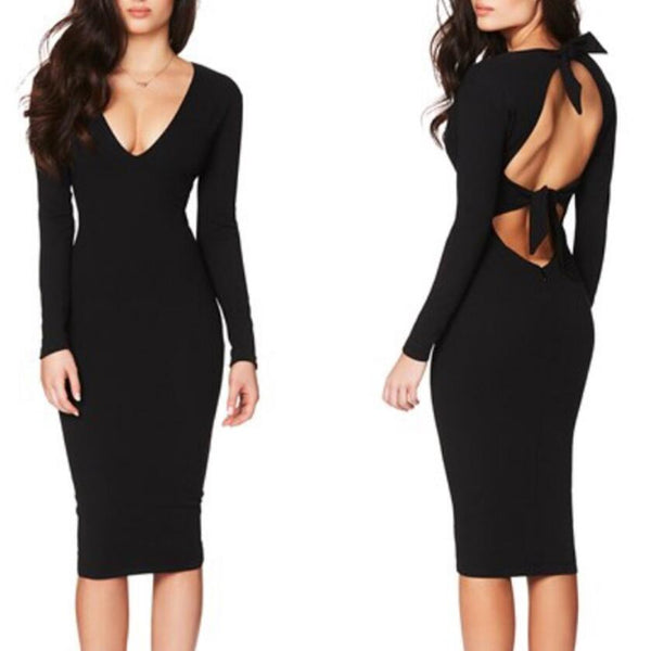 Backless Sexy Deep V-Neck Dress