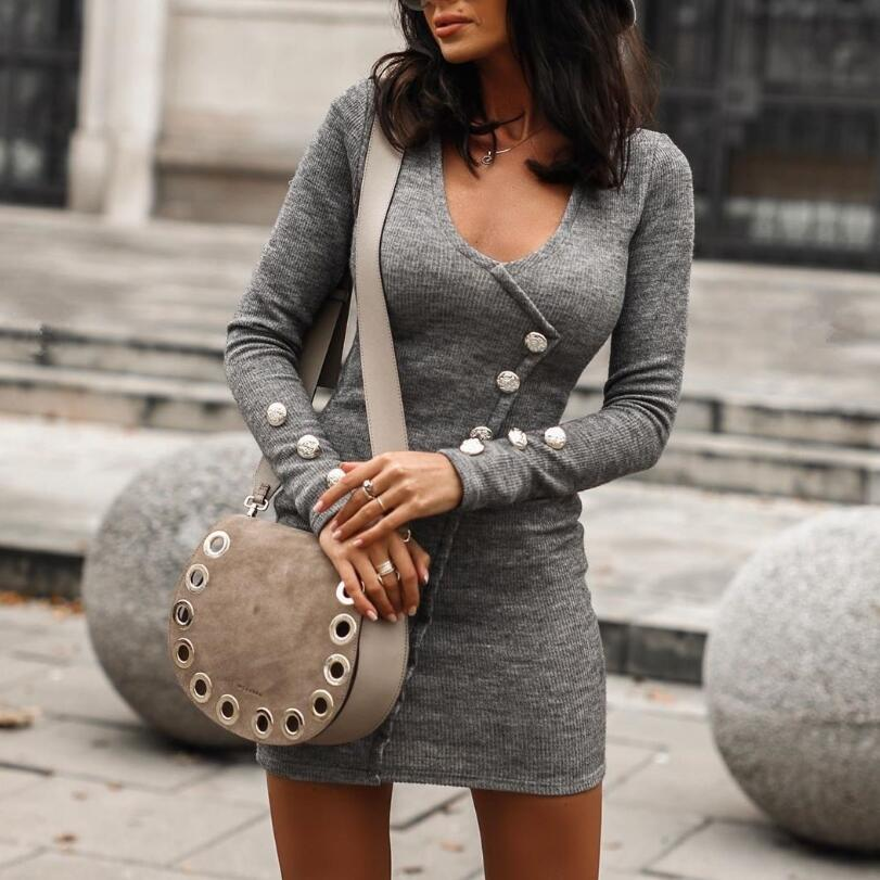 Decorative Buttons Womens Bodycon Dress