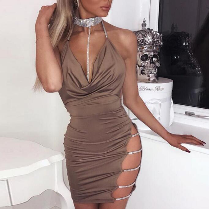 Sling Deep V Tie Front Halter Dress