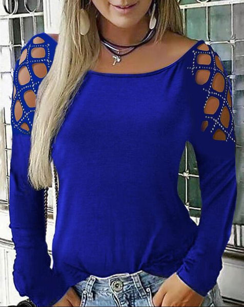 Fashion Long Sleeve Studded Out Shirt Top