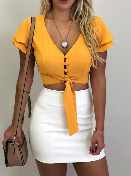 V-neck Short Sleeve Blouse