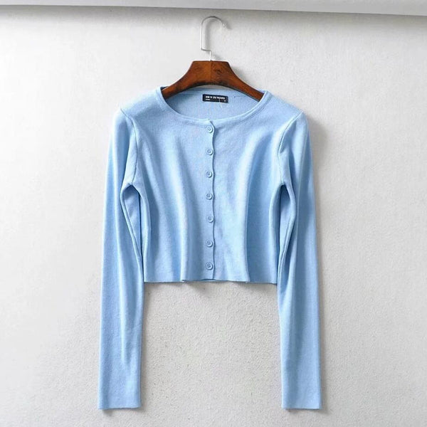 Long Sleeve Knitted Short Shirt Top