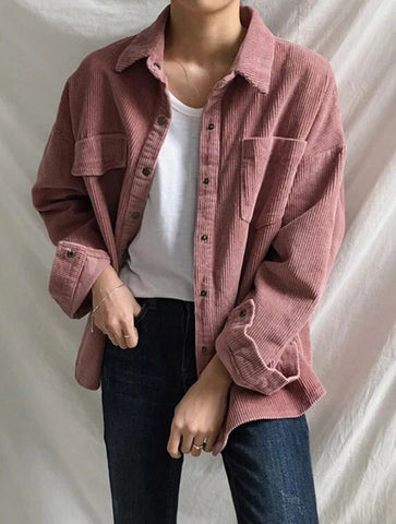 Solid Color Long Sleeves Corduroy Jacket
