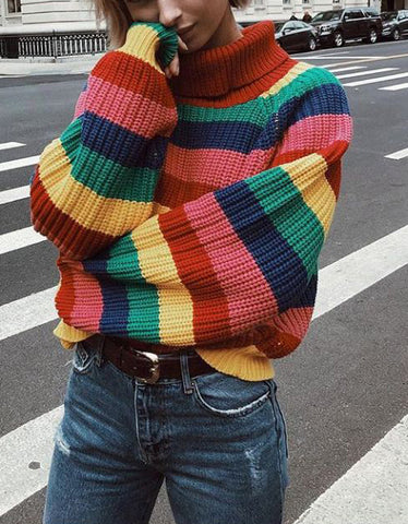 Loose Rainbow Colorful Stripe Sweater