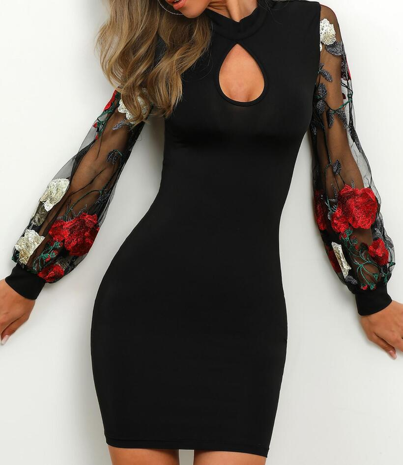 Sexy Long Sleeve Embroidered Black Dress