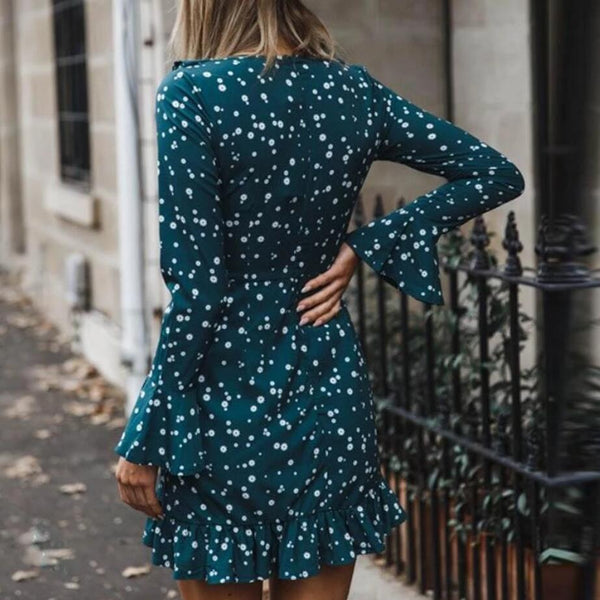 Womens V-Neck Dot Long Sleeve Dress