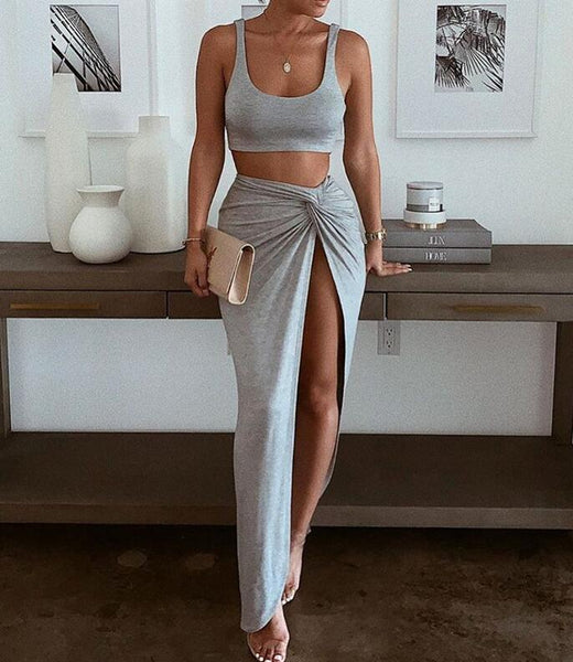 Fashion Solid Color Sexy Two Piece Set