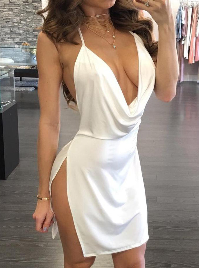 Sexy Halter Side Slit Party Dress