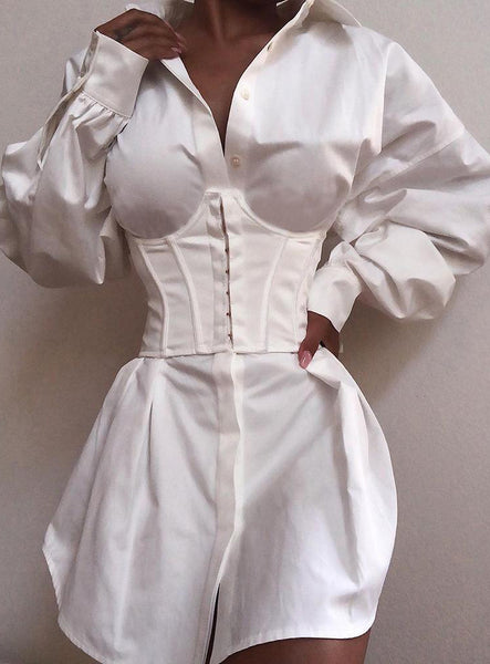 Long Sleeve Tight Waist Buttoned Shirt Dress